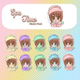 Spa Time Stickers - Planner Stickers - Kawaii Stickers