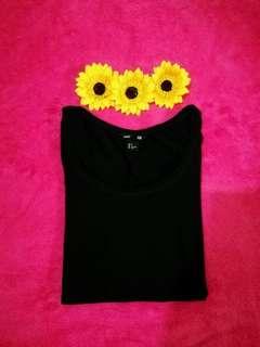 H&M Black Stretchable Basic Top / Tshirt