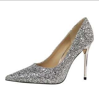 全新銀色高跟鞋 wedding shoe