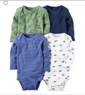 *NB* BN Carter's 4-Pack Long Sleeve Bodysuits For Baby Boy