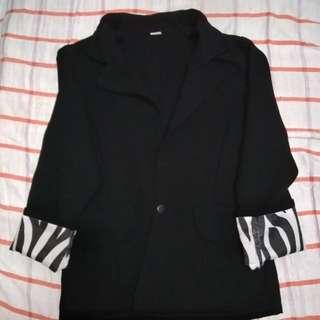 Black Blazer with Zebra print cuff