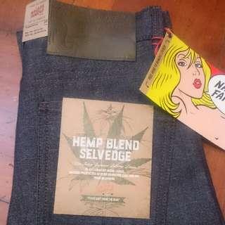 Naked & Famous Hemp Blend Selvedge Super Skinny Guy Size 28