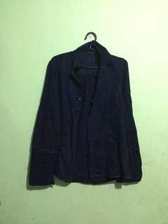 Pre loved plain navy blue long sleeve polo