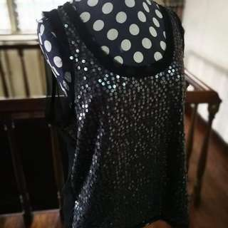 Sequinned Sleeveless Top