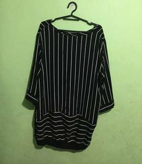Pre loved black stripes blouse