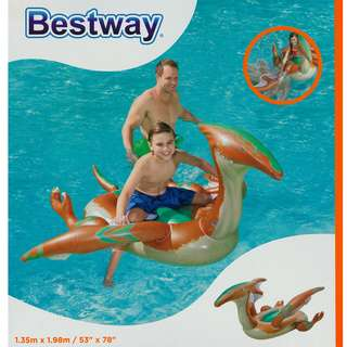 (Free Delivery) Bestway Prehistoric Dinosaur Ride On Inflatable Swimming Float with Handle