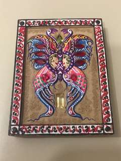 Butterfly Amulet Block B with Gems and UV painted colours, strongly bless by Kruba Krissana. Free LP Pern Wealth Tiger bracelet
