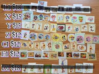 日本卡通郵票(Disney,Sanrio,Teddy bear,Snoopy,姆明一族,Miffy,叮噹,Petter Rabbit)