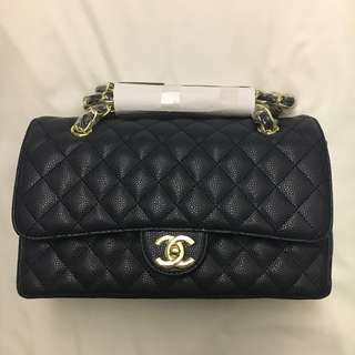 Chanel Double Flap Navy Blue Bag Class 7A