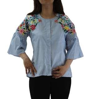 Atasan Bordir bunga model blouse kemeja wanita lengan pendek tangan terompet bahan katun motif salur