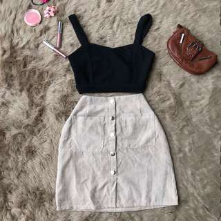 cream suede button down skirt
