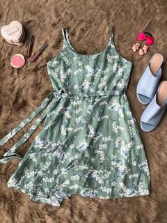 moss green floral tied up dress