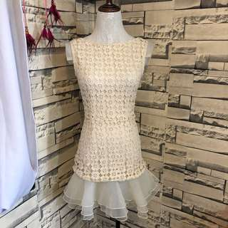white lace lowback dress