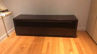 Solid wood entertainment console