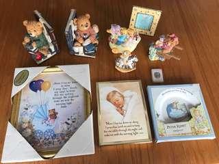 Assorted baby keepsake items