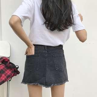 全新 女裝 Q739644 春夏高腰顯瘦毛邊牛仔裙包臀裙學生短裙A字裙潮