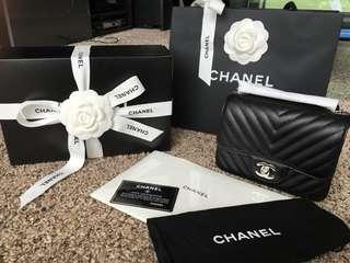 Chanel mini square chevron bag