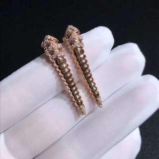 Bvlgari 扭紋蛇鑽石耳環