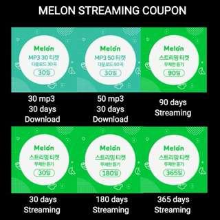 Melon Coupon (Streaming/Download)  MELON PASS FOR ALL FANDOM EXO BTS MAMAMOO RED VELVET WANNA ONE BIG BANG WINNER IKON TWICE GOT 7 NCT SUPER JUNIOR VIXX MONSTA X B1A4 BLACKPINK SEVENTEEN PENTAGON