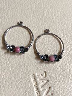 Pandora Garden Goddess Pink Rock Earrings