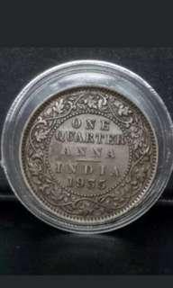 (i3) British India Quarter Anna 1935