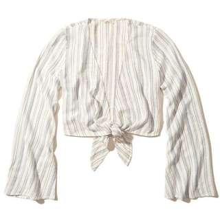 Hollister Bell Sleeve Tie-Front Crop Top