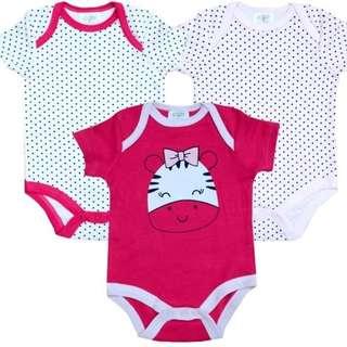 Baby Girl Romper Zebra Set of 3