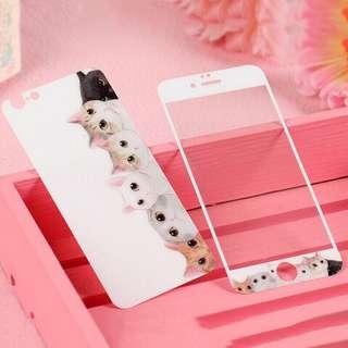 🚚 Iphon8 iPhone 7 4.7吋5,5吋可愛萌喵喵咪喵星人前後鋼化玻璃貼(整組)
