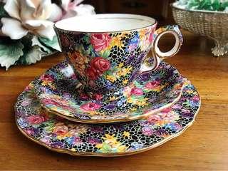 🚚 英國製Royal Winton 彩繪滿版花卉印花棉布CHINTZ系列三件式杯盤組