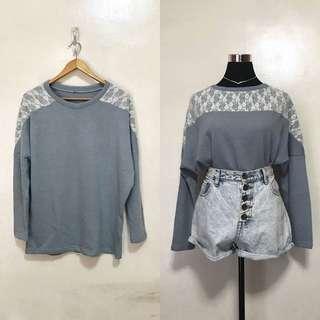 [Preloved] Vintage Blue Oversized Pullover Sweater