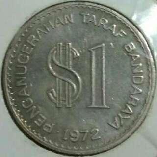 "Koin/Syiling 1 ringgit Malaysia. Spesial Edition ""Penganugerahan Taraf Bandaraya Kualalumpur 1972"""