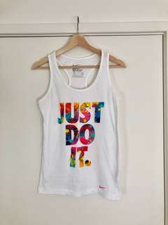 NIKE | SMALL | Women's White Slim Fit Logo Singlet | Just Do It | Bright Fluoro | Gym Tank
