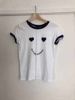 BRAS N THINGS | SMALL | SIZE 8 | Morning Sunshine Sleepwear Tee T-Shirt | White with Navy Trims