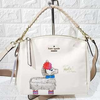 Authentic Overrun Kate Spade Lyla Hola Print Crossbody Sling Bag in Beige