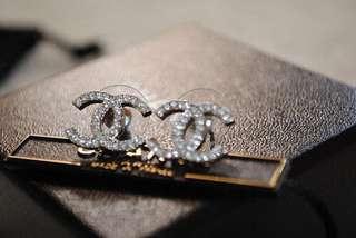 Chanel Crystal Earrings Silver