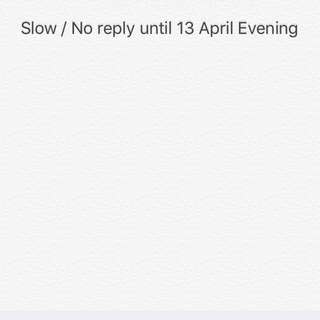 Slow / No Reply until 13 April Evening