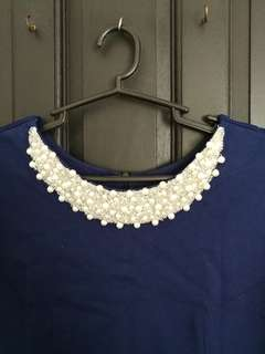 XL Blue Dress with Neckline Pearl Details