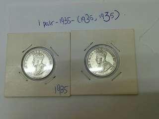 2pcs Of King George V 1935, 20cent