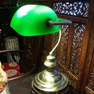Bankers Lamp Antique  Glass With Brass Stand