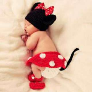 Newborn Crochet Costumes - Minnie Mouse 4pc Set