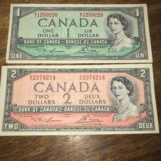 CANADA 1954 Canadian One Dollar and Two Dollar Bill Note Very crisp condition