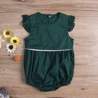 Instock - emerald romper, baby infant toddler girl children sweet kid happy abcdefgh so pretty