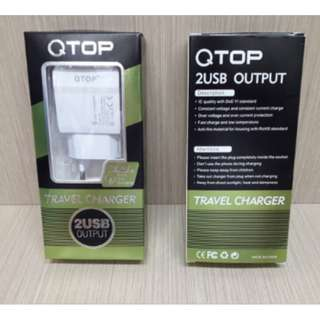 Charger QTOP 2 USB 3.1A Batok Casan 2 Output Fast Charging