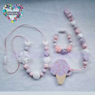 Handmade Beads Necklace & Pacifier clip + Ice cream teether combo & Bracelet (Mummy and baby set)