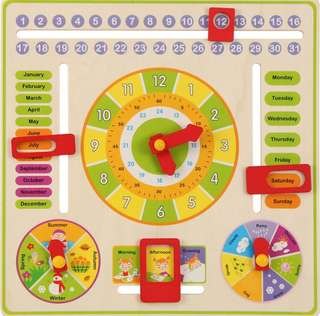 Educational Toy - Wooden Calendar and Clock