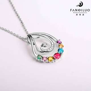 S925 Colorful Crystals Stylish Pendant With Necklace