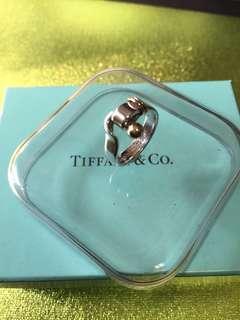 港度  9號半  Tiffany 經典 925 銀戒指 + 18K 750 金位。