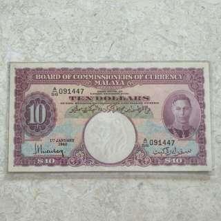 XF+/AU 1940 MALAYA KING GEORGE VI VIOLET $10 A/56 091447