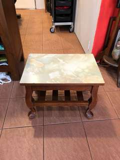 Vintage teakwood green Formica  Side table