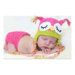 Newborn Crochet Costumes - Owl 2pc Set